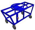 "Mobile cart with integrated ""lazy Susan"" type turn table for more convenient casting."